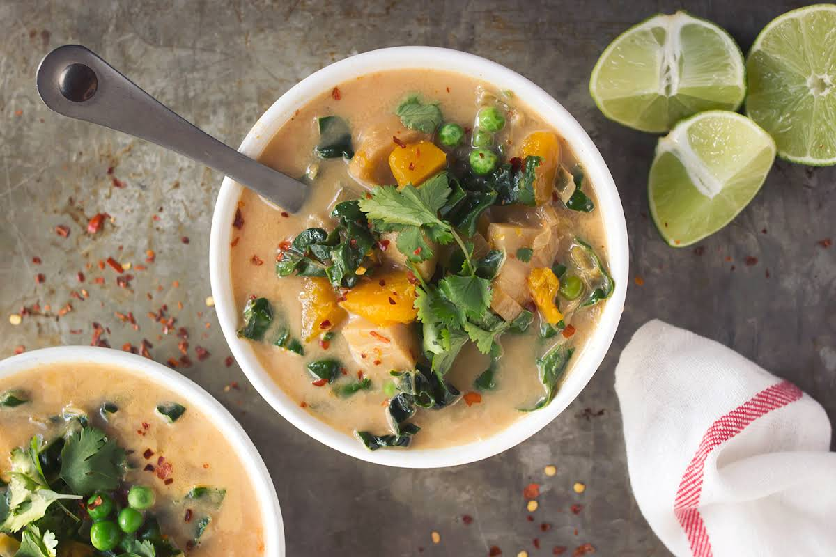 Slow Cooker Coconut Red Curry Vegetable Soup (Gluten-free + Vegan) Recipe