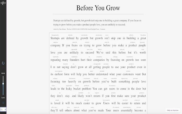 Paragraph: Read, Learn, Improve a Language.