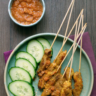 Chicken Stay with Peanut Sauce.