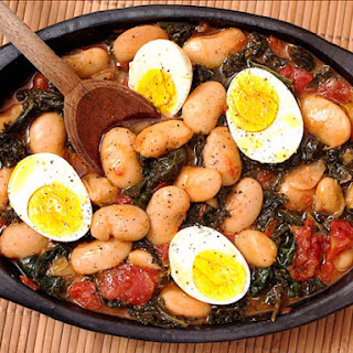 Butter Beans with Kale and Eggs.