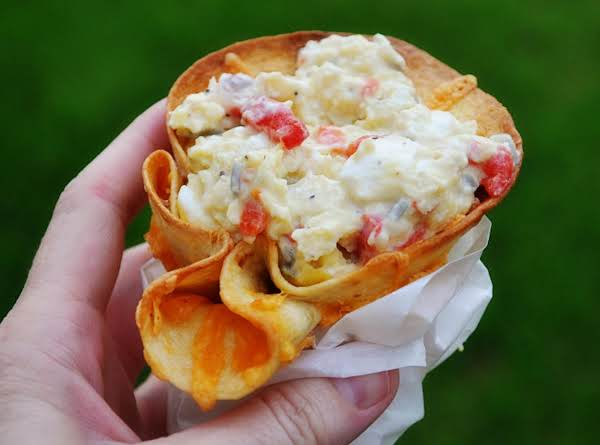 Pimiento-cream Cheese Scrambled Eggs In Cheddar Tortilla To-go Cups
