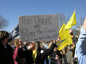 """Photo: Denver rally 2011; """"The Unions are Killing the Goose that Laid the Golden Egg""""; photo by Bob Glass; posted with permission by Ari Armstrong."""