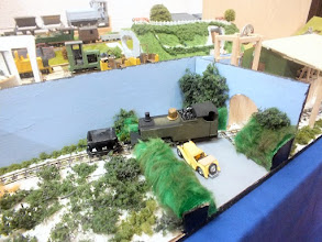 Photo: 013 An 009 Fayles Tramway diorama featuring Hunslet Russell in the cut down condition that the locomotive was during her working days in Purbeck pre-preservation .