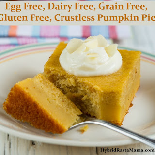 Egg Free, Dairy Free, Grain Free, Gluten Free Crustless Pumpkin Pie.