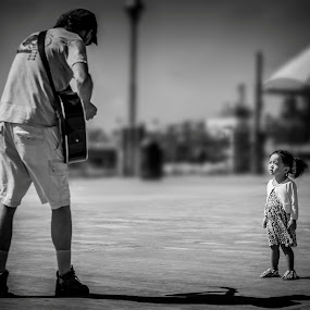 The Performer by Linh Tat - Black & White Street & Candid ( love, music, child, beautiful, musician, time standing still, KidsOfSummer )