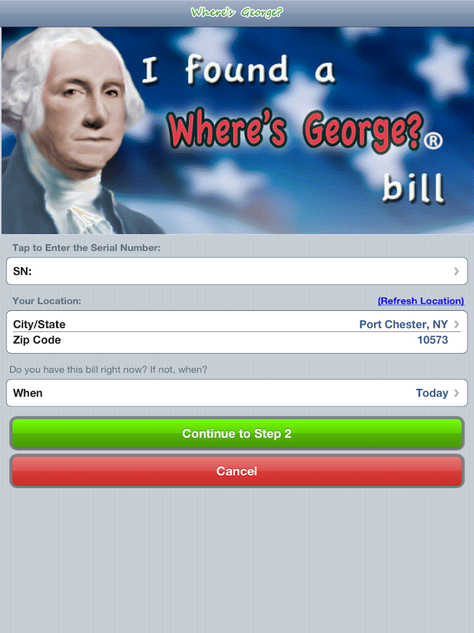 Where's George? Official App- screenshot