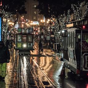 Rainy night in San Francisco by Drew Campbell - City,  Street & Park  Street Scenes