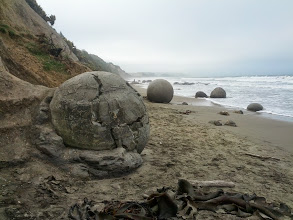 Photo: Moeraki boulders.  Formed naturally somehow.  Or maybe by aliens.  I read the info sign, but the only thing I remember is how neat it looks.