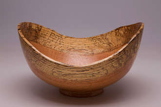 "Photo: Mark Verna 9"" x 5"" natural edge bowl [spalted red oak]"
