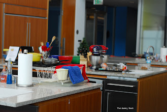 Photo: Karen had 4 easy appetizer recipes for us to make. We split into groups of two and headed for one of the kitchen spaces.