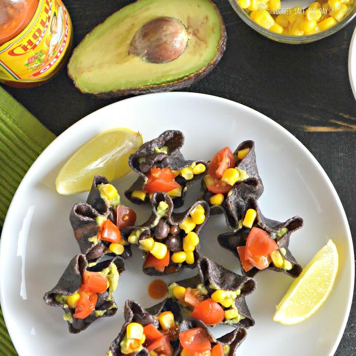 Mini Guacamole & Black Bean Tostadas