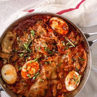Pork and Chive Mandoo {Dumpling} in Tteokbokki Sauce.