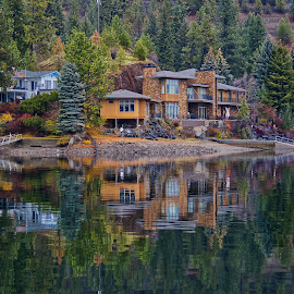 Content in Coeur d'Alene by Barbara Brock - Buildings & Architecture Homes ( serenity, waterscape, lake living, reflections in water, luxury living, house, mansion, home )