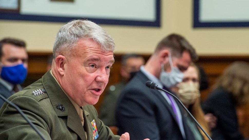 """General Kenneth McKenzie Jr., USMC Commander, U.S. Central Command responds to questions during a House Armed Services Committee hearing on """"Ending the U.S. Military Mission in Afghanistan"""" in the Rayburn House Office Building in Washington, DC, Wednesday, September 29, 2021. Credit: Rod Lamkey / Pool via CNP"""