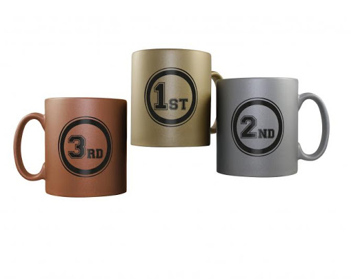 Olympic Mugs Gold Silver Bronze