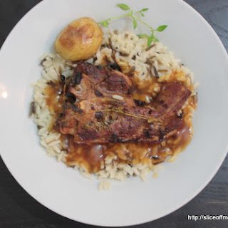 Smoky spicy Lamb with Wild Rice and gravy