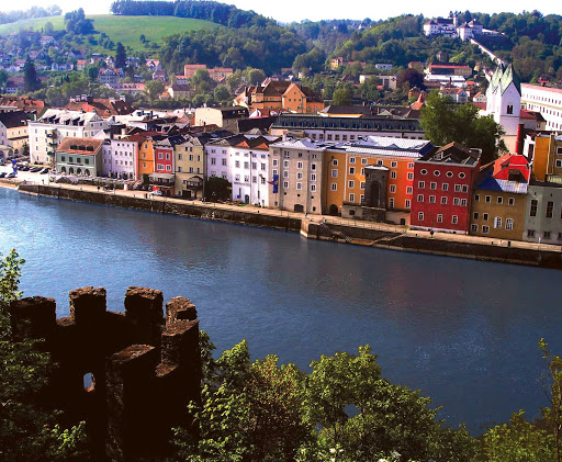 View of the Danube River from Veste Oberhaus, also called Bishops Castle, founded in 1219 in Passau, Germany.