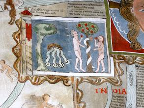 """Photo: 'PARADYSUS': """"Das Paradies und das Holz des Lebens und die vier aus dem Paradies entspringenden Flüsse; wo die Schlange unsere Ureltern betrog, indem sie sie anstiftete, vom verbotenen Baume zu essen."""" Äußerst bemerkenswert: Auch Adam hält einen Apfel in der Hand!"""