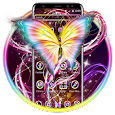 Shiny Yellow Neon Butterfly Theme icon