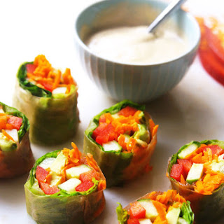 "Garden Vegetable Salad Rolls with ""Peanut"" Dipping Sauce"