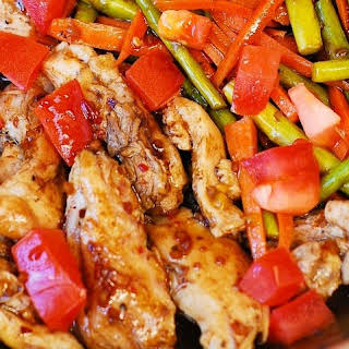 Balsamic Chicken with Asparagus and Tomatoes.
