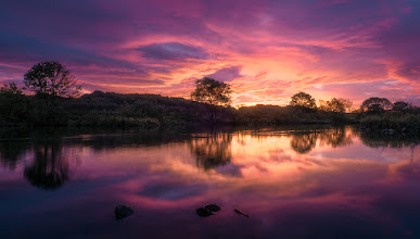 Photo: Taken at one of my favorite locations, just 15 minutes away from my home. It was one of the most amazing sunrise I've ever seen. Unfortunately I only had my compact camera with me, a Panasonic Lumix LX3, and not the big DSLR. Together with a little tripod I took three photos in a row in order to capture the whole dynamic range of the scenery. The resulting full resolution image is somewhat noisy (not visible here), but I'm very impressed with the result that came out of this little cam.  #plusphotoextract #landscapephotography #landschaftsfotografie #potd #sunrisephotography