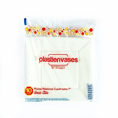 platos plastico plastienvases cuadrado 7 pulgadas colores surtidos 10und