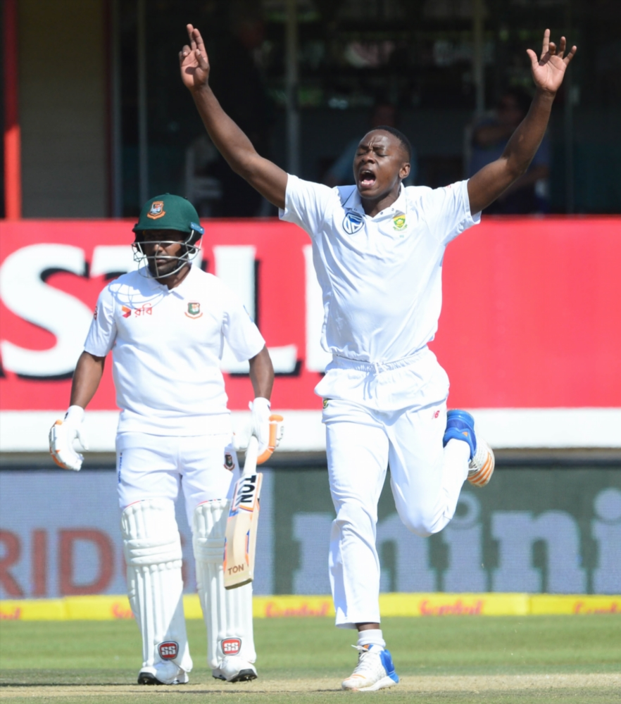 Kagiso Rabada of the Proteas celebrates the wicket of Soumya Sarkar of Bangladesh during day 2 of the 2nd Sunfoil Test match between South Africa and Bangladesh at Mangaung Oval on October 07, 2017 in Bloemfontein.