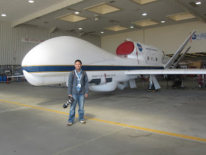 Photo: DUUUUDE, in front of the Northrup Grumman Global Hawk unmanned Earth science aircraft