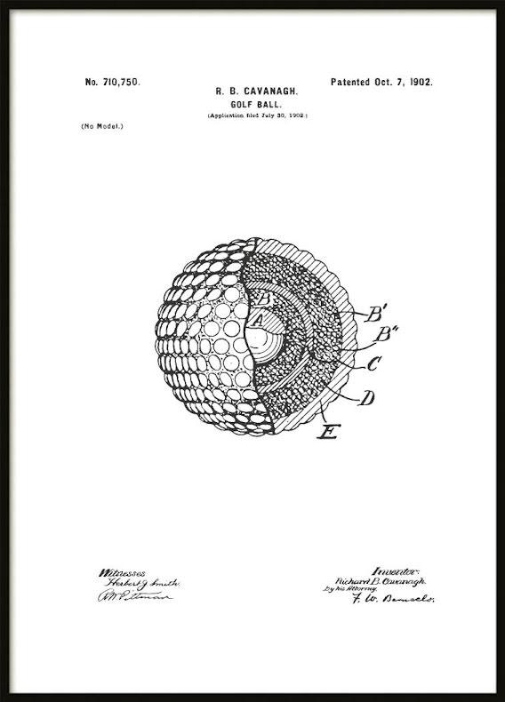 Patent Poster Golf Ball
