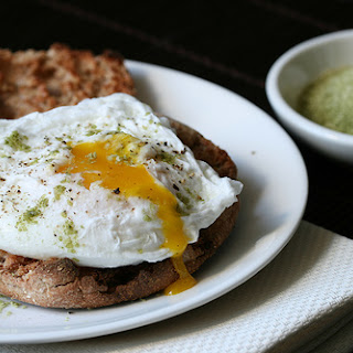Poached Eggs with Matcha Salt