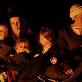 Happy Family by Michael Topley - People Family ( tutbury castle, child, england, mother, family, children, night, low light, mum, evening, mom, tutbury )