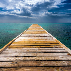 Dock On The Blue Bay by Jeff Klein - Landscapes Waterscapes ( water, vacation, sky, blue, tropical, pier, dock, mustique )