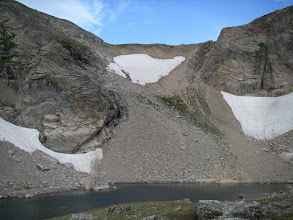 Photo: Boulder-Grand Pass and the descent gully from it.