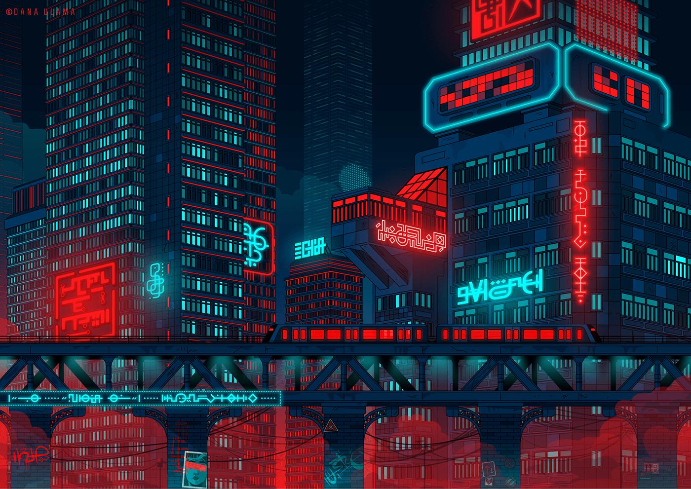 city cityscape Cyberpunk lofi neon retrowave skyline Synthwave Urban vaporwave