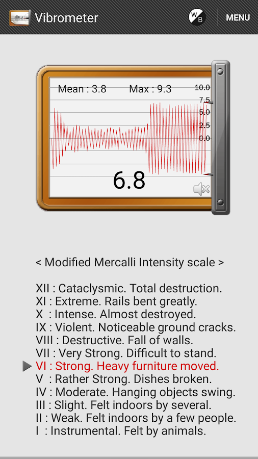 Vibration Meter - screenshot