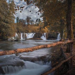 Rastoke waterfalls by Nena Volf - Landscapes Waterscapes ( waterfalls, rastoke, autumn, path, croatia )