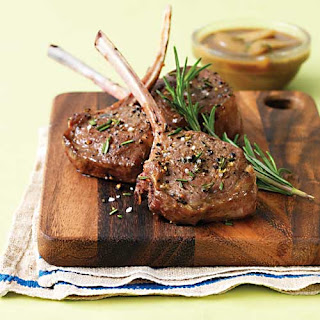 Lamb Chops with Pear & Balsamic Pan Sauce.
