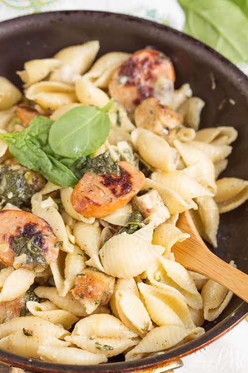 """Creamy Spinach Artichoke Sausage and Chicken Pasta""""I took the popular spinach and..."""