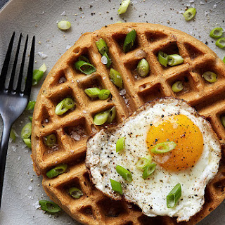 Savory Cassava Flour Waffles with Bacon and Scallions.