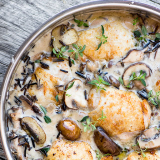 Creamy Chicken with Wild Rice and Mushrooms.