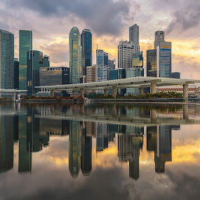 Light After the Storm by Martin Yon - Buildings & Architecture Office Buildings & Hotels ( skyline, bay, reflections, marina, singapore )