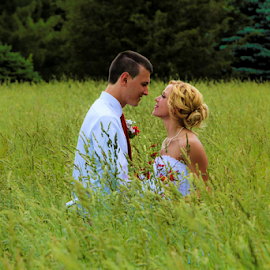 Field of Dreams Together by Dave Dabour - Wedding Bride & Groom ( field, married, dreams, woman, wedding, couple, man,  )