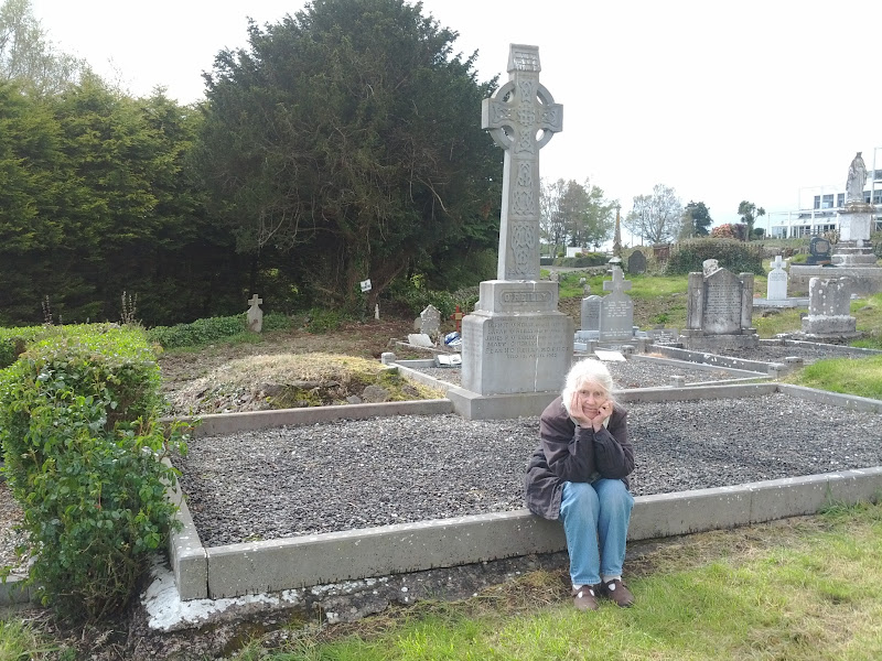 Photo: My mother at her husband's grave, thirty years on.