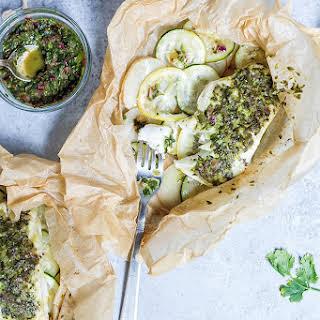 Halibut en Papillote with Salsa Verde & Vegetables.