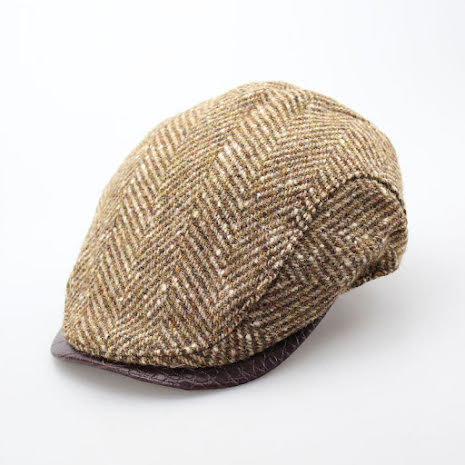 BB Flat cap fiskbensmönstrad, brun