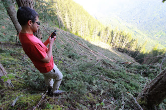 Photo: Wilderness Committee mapper, Geoff Senichenko takes GPS location on Ford Mountain, Chilliwack Valley, BC. This is a recently logged forest within a spotted owl wildlife habitat area.