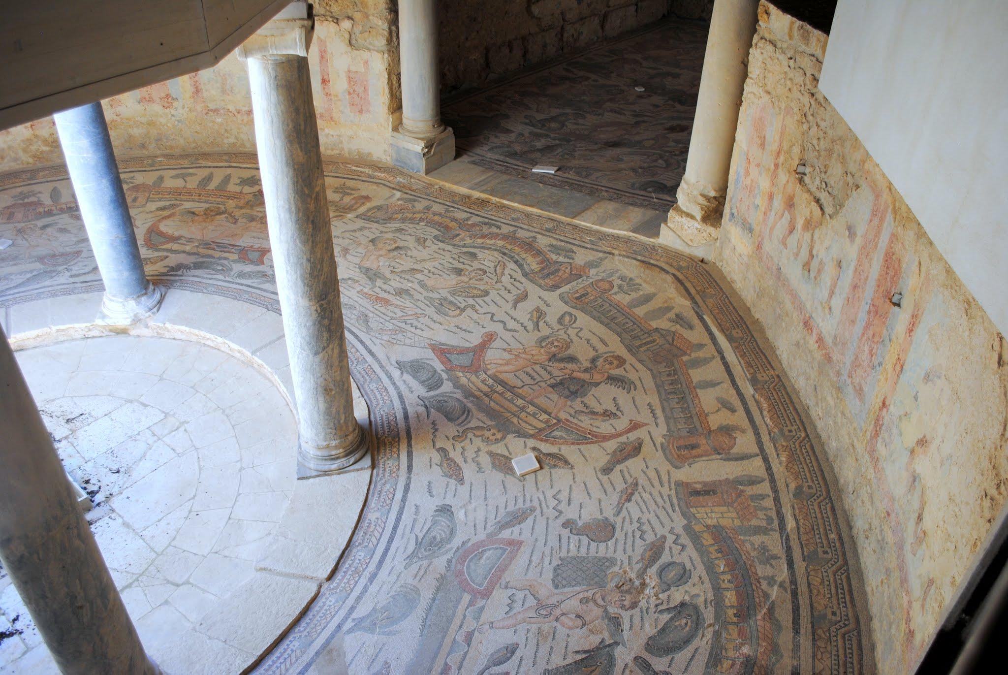 My Photos: Italy -- Mosaics -- Sicily -- Piazza Armerina -- Semicircular Vestibule with Winged Cupid Fishermen Mosaic