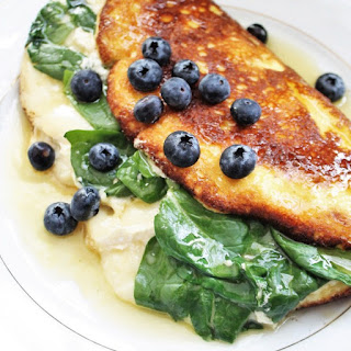 Soufflé Omelet with Spinach and Brie.