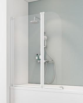 "Badewannenfaltwand 2-tlg., 1150x1400 mm, Alpinweiß, Sicherheitsglas (ESG), ""Klar hell"""